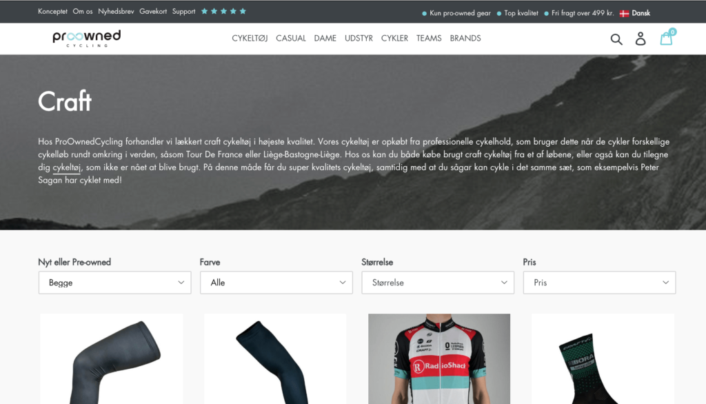 Pro owned cycling webshop for Craft cykeltøj
