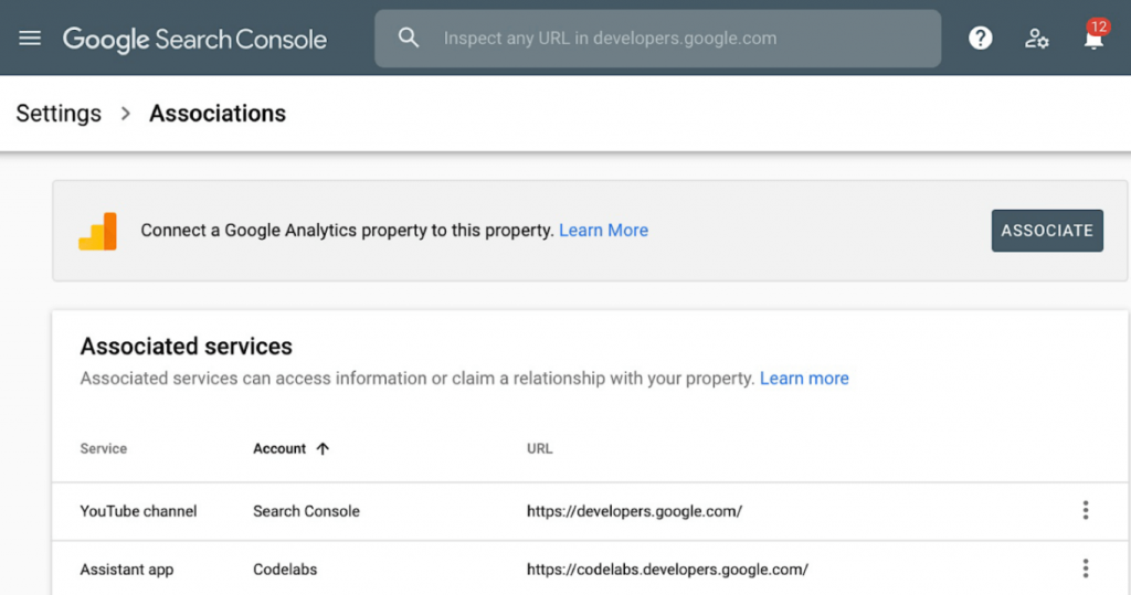 association page search console