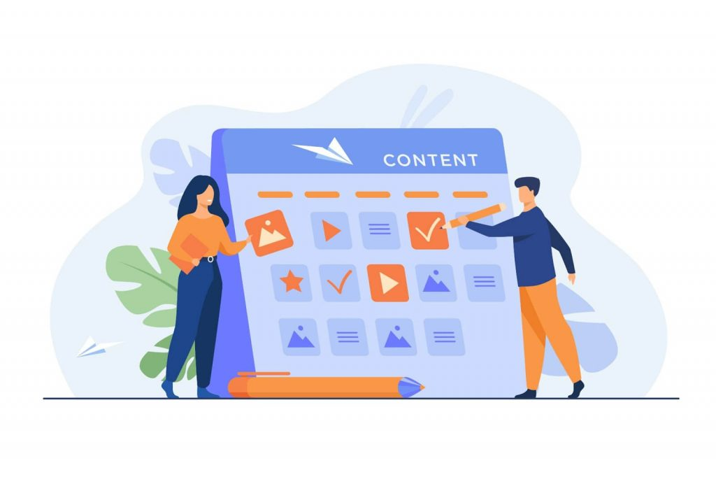 pointing at content calendar