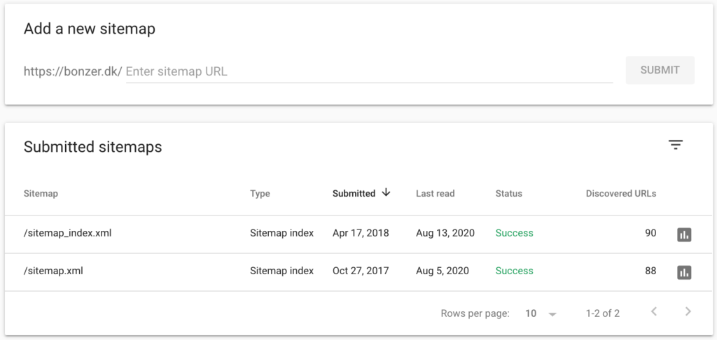 sitemap i search console